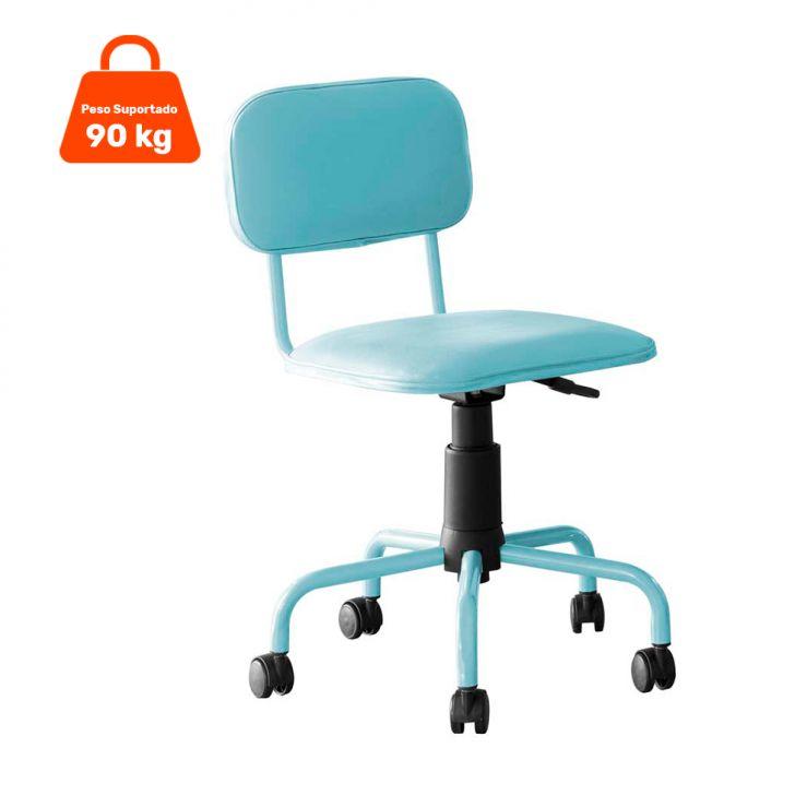 Cadeira de Escritório Giratória Color Pistão a Gás Corano Azul Claro