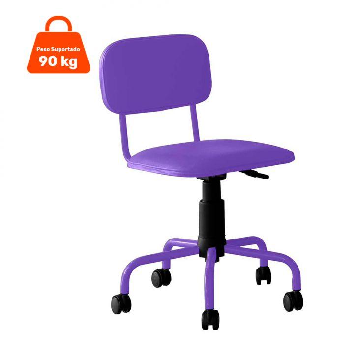Cadeira de Escritório Giratória Color Pistão a Gás Corano Roxo