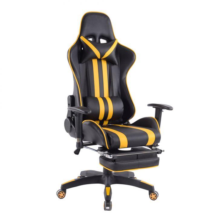 Cadeira de Escritório Presidente Reclinável Gamer Preta e Amarela