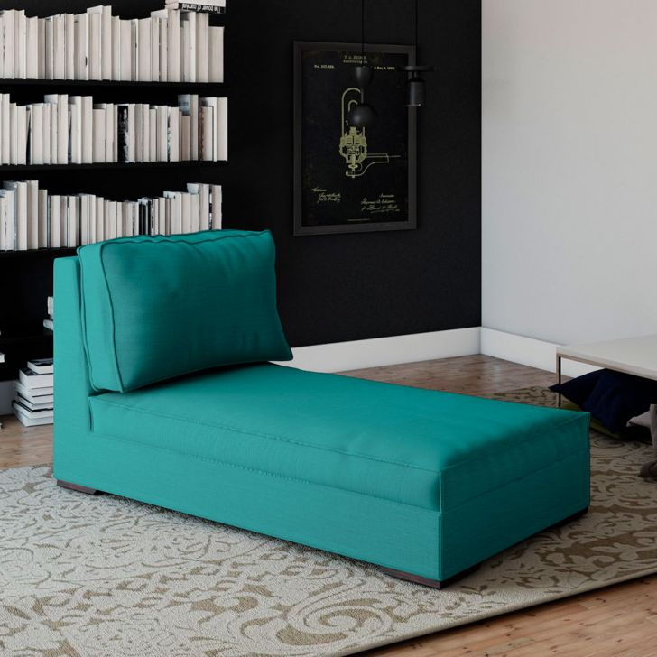 Chaise Lounge Suede Azul