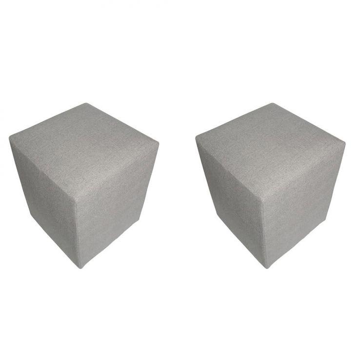Conjunto 2 Puffs Quadrado Tissue Cinza