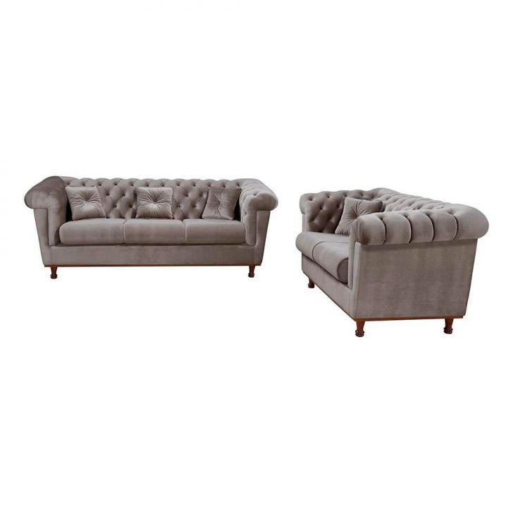 Conjunto Sofá 2 E 3 Lugares Com 2 Almofadas Decorativas