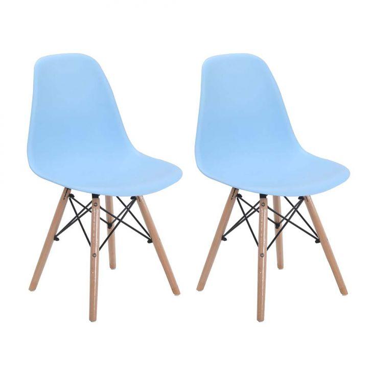 Conjunto com 2 Cadeiras Eames Eiffel Azul