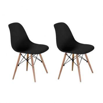 Menor preço em Conjunto com 2 Cadeiras Eames Eiffel Base Madeira Preto