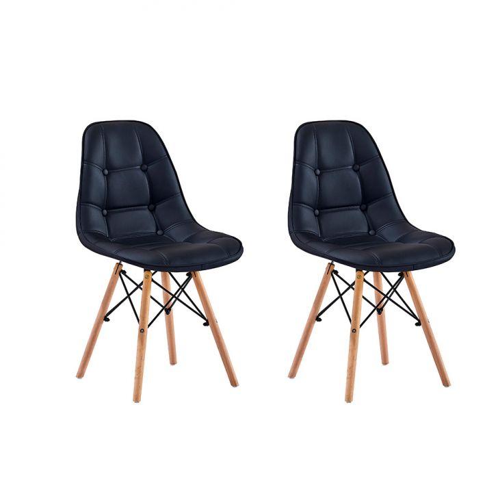 Conjunto com 2 Cadeiras Eames Eiffel Botonê Preto