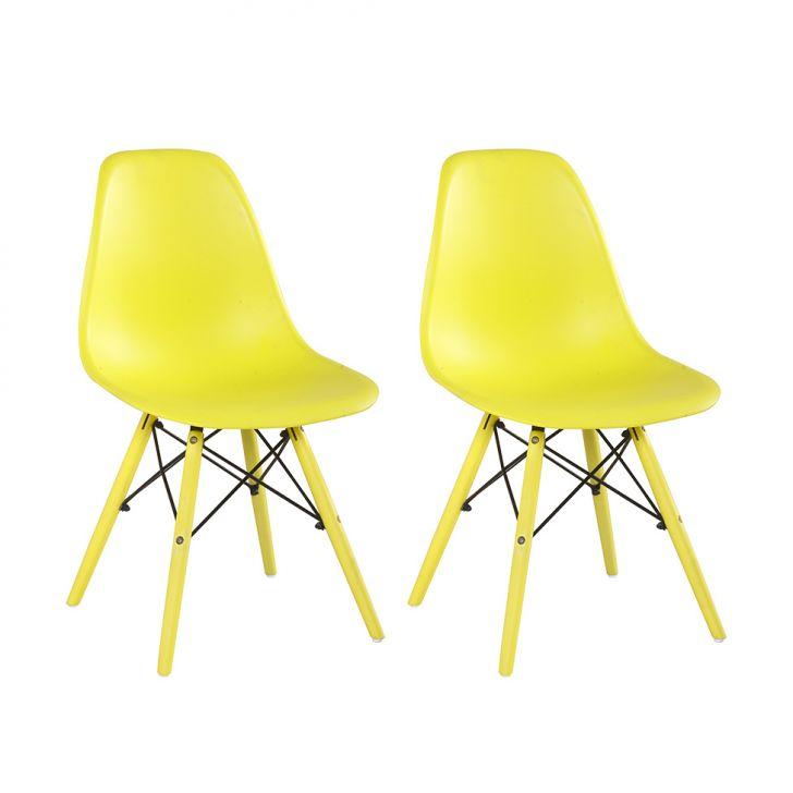 Conjunto com 2 Cadeiras Eames Eiffel Condá Amarela 418ab96d477