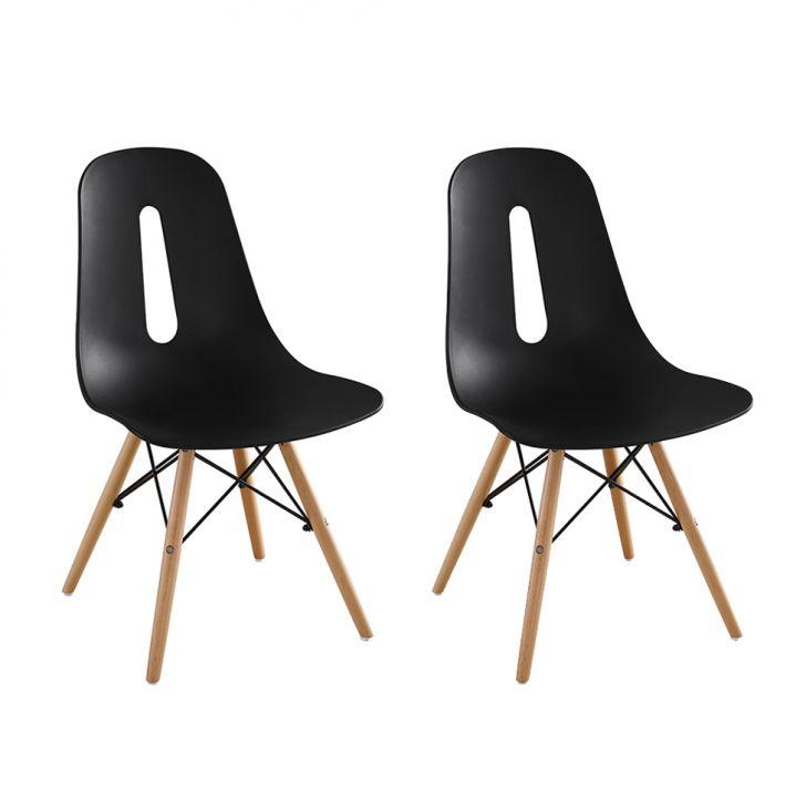 Conjunto com 2 Cadeiras Eames Eiffel Cristal Preta