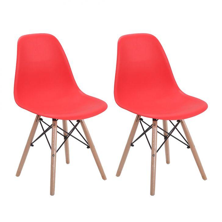 Conjunto com 2 Cadeiras Eames Eiffel Vermelho Base Madeira