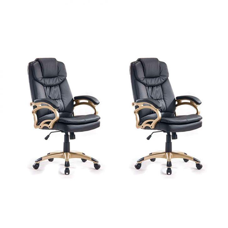 Conjunto com 2 Cadeiras de Escritório Clark Preto