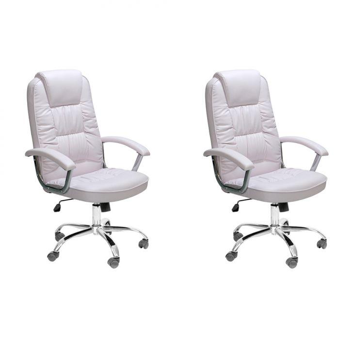 Conjunto com 2 Cadeiras de Escritório Presidente Finland Branco
