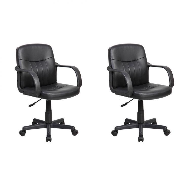Conjunto com 2 Cadeiras de Escritório Secretária Clean Preto