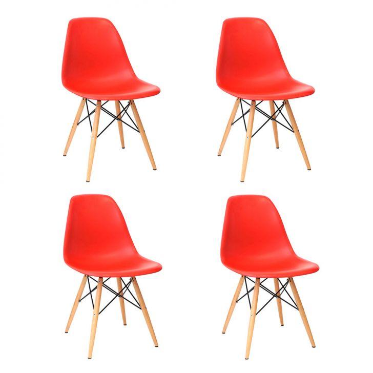 Conjunto com 4 Cadeiras Eames Eiffel Vermelho Base Madeira