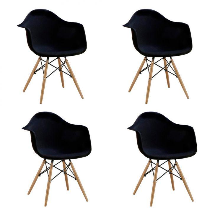 Conjunto com 4 Cadeiras Eames Eiffel com Braço Preta Base Madeira