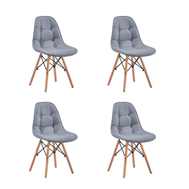 Conjunto com 4 Cadeiras Eames Premium Botonê Cinza