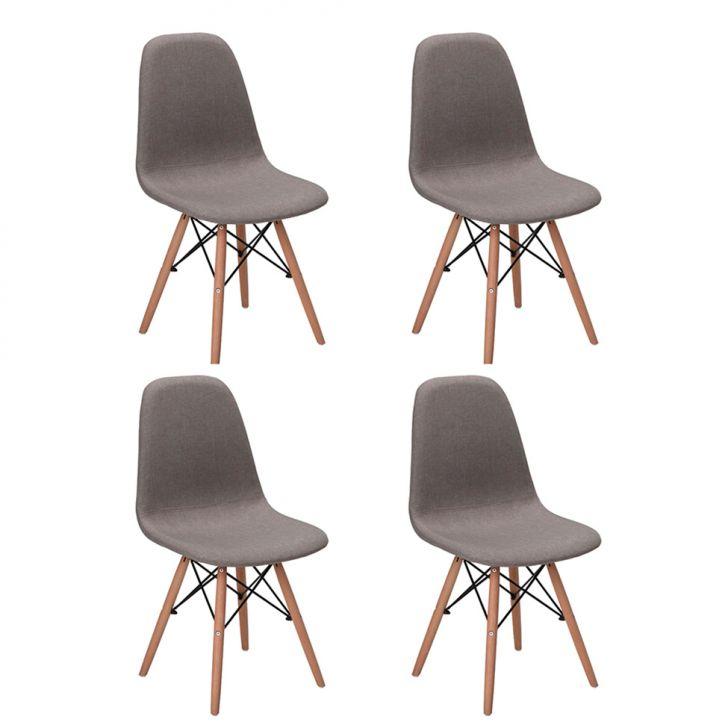 Conjunto com 4 Cadeiras Eames Premium Citrino Cinza