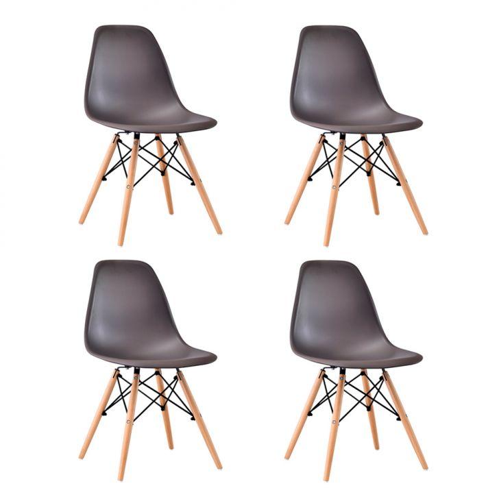 Conjunto com 4 Cadeiras Eames Premium Marrom Base Madeira
