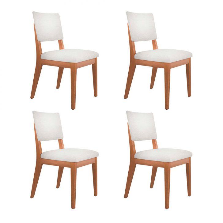 Conjunto com 4 Cadeiras Ella Natural e Omega