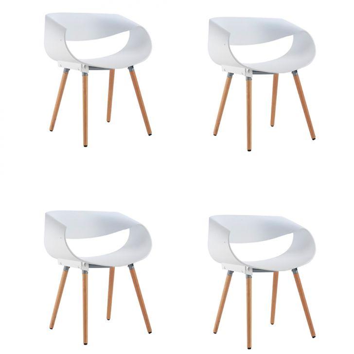 Conjunto com 4 Cadeiras Infiniti Branco