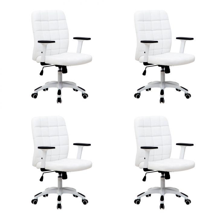 Conjunto com 4 Cadeiras de Escritório Diretor Premium Fitz Branco