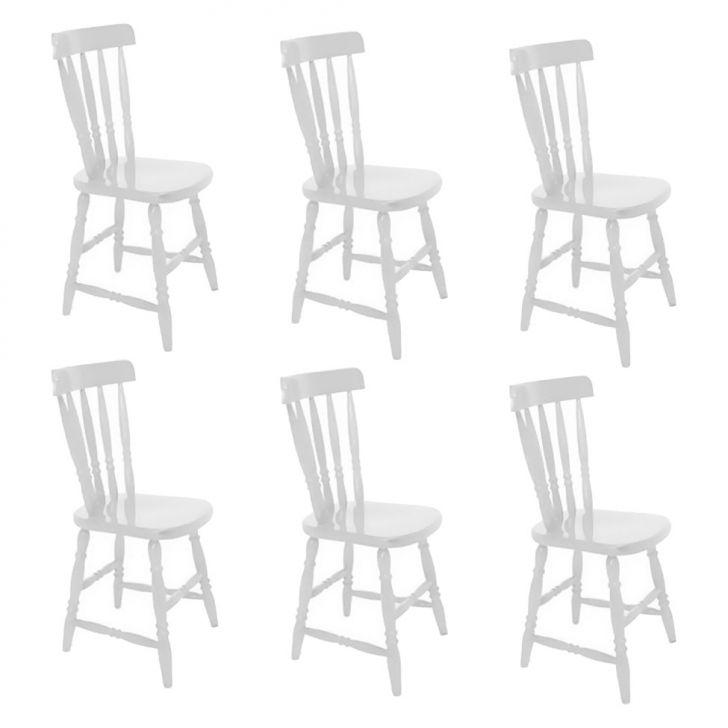 Conjunto com 6 Cadeiras Campestre Branco
