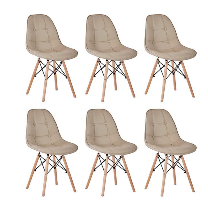 Conjunto com 6 Cadeiras Eames Premium Botonê Fendi