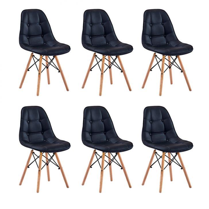 Conjunto com 6 Cadeiras Eames Premium Botonê Preto