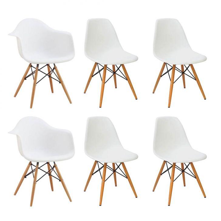 Conjunto com 6 Cadeiras Eames Premium Branco Base Madeira