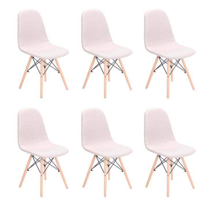 Conjunto com 6 Cadeiras Eames Premium Citrino Bege