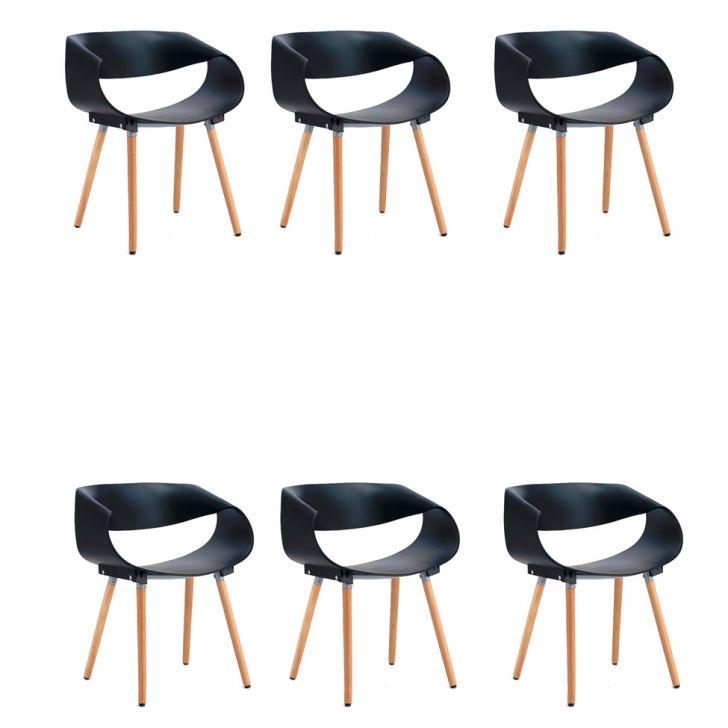 Conjunto com 6 Cadeiras Infiniti Preto