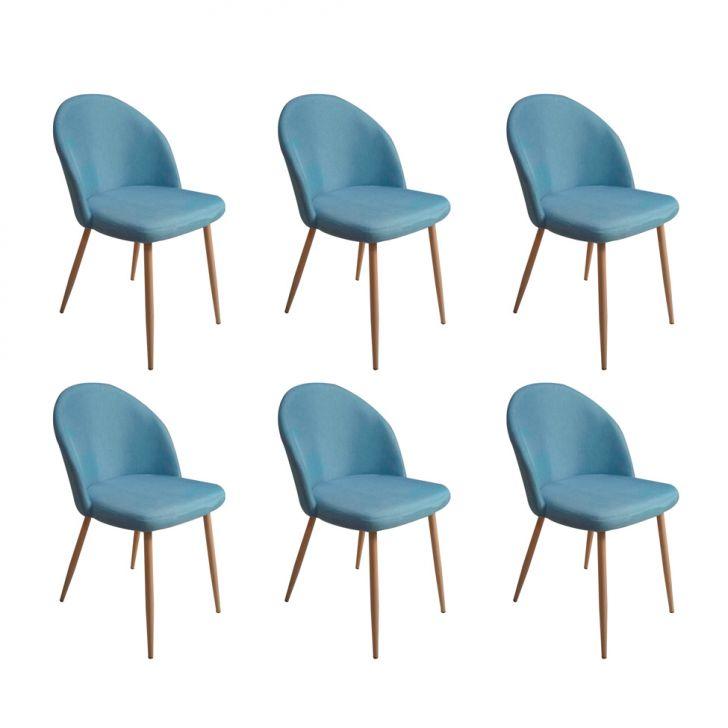 Conjunto com 6 Cadeiras Juno Azul