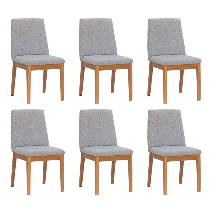 Conjunto com 6 Cadeiras Tai Alpha e Natural