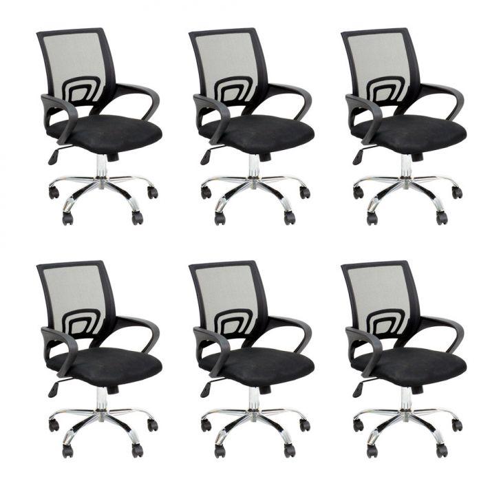 Conjunto com 6 Cadeiras de Escritório Secretária Java Preto