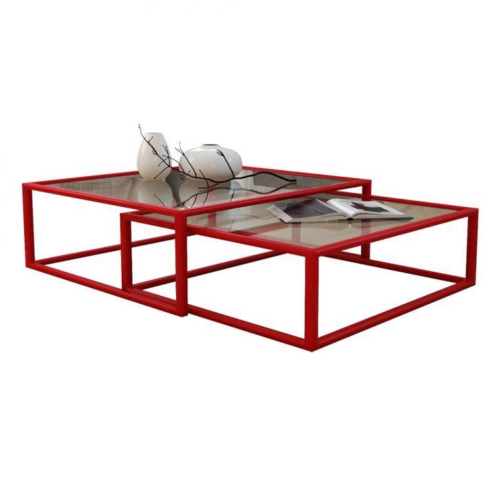 Conjunto de Mesa de Centro Duo Catarina Vermelha
