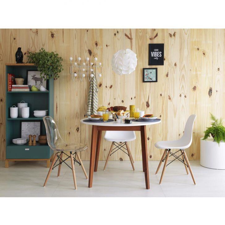 e8d191e8474 Mesa de Jantar Redonda Tóquio Branca e Mel 100 cm