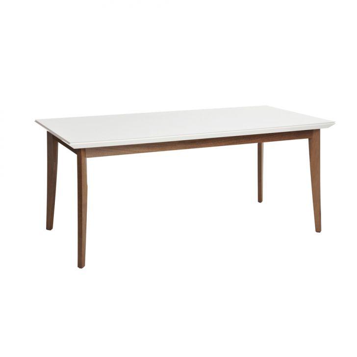 Mesa de Jantar Retangular Julien Branco Gloss e Natural 160cm