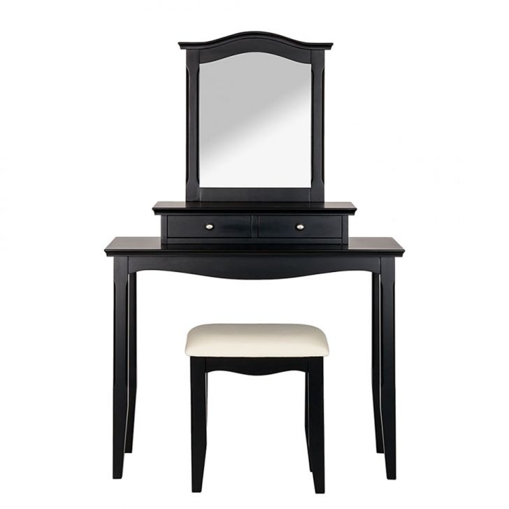 penteadeira giselle com banco e espelho 2 gavetas preta. Black Bedroom Furniture Sets. Home Design Ideas