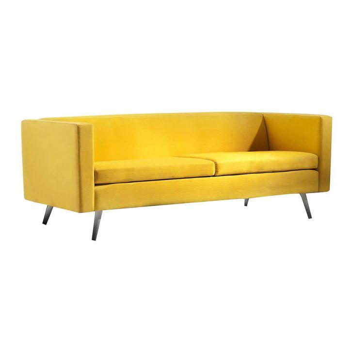 Sofá 3 Lugares Lovely Suede Amarelo