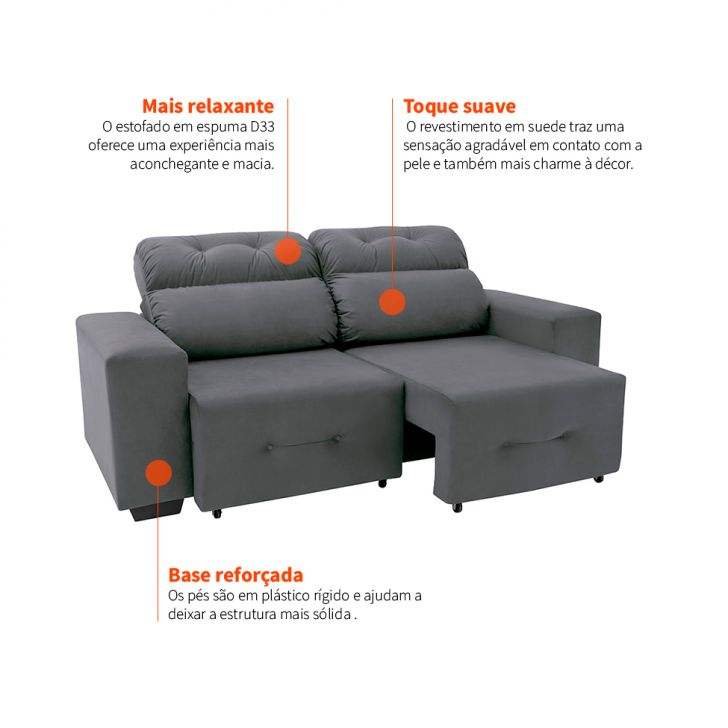 Wondrous Sofa 3 Lugares Retratil E Reclinavel Plaza Suede Cinza Machost Co Dining Chair Design Ideas Machostcouk