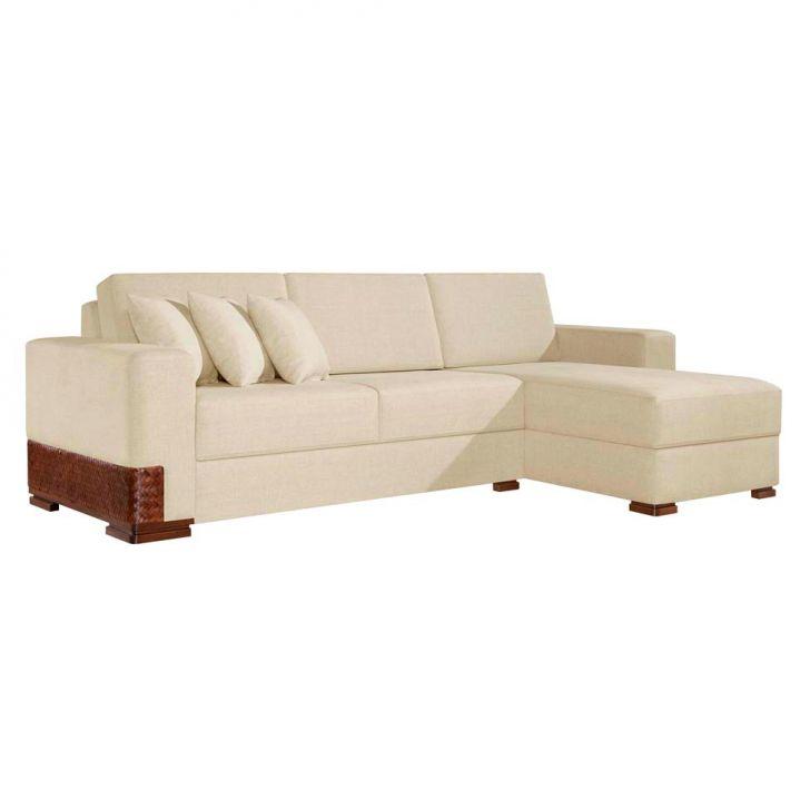 sof 3 lugares com chaise bretanha bege