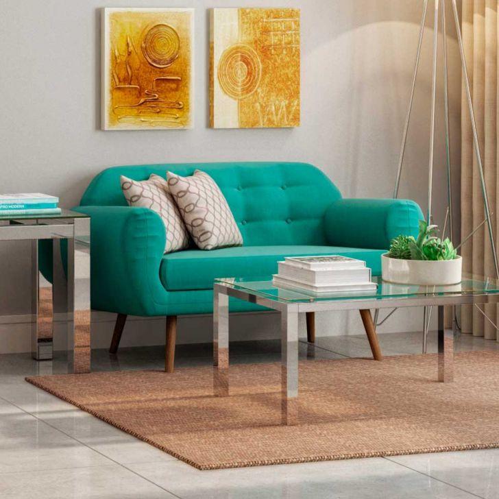 Sof beatle 2 lugares linho azul turquesa for Sofa azul turquesa