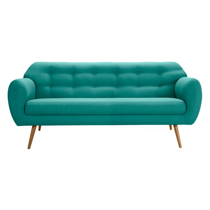 Sof beatle 3 lugares linho azul turquesa for Sofa azul turquesa