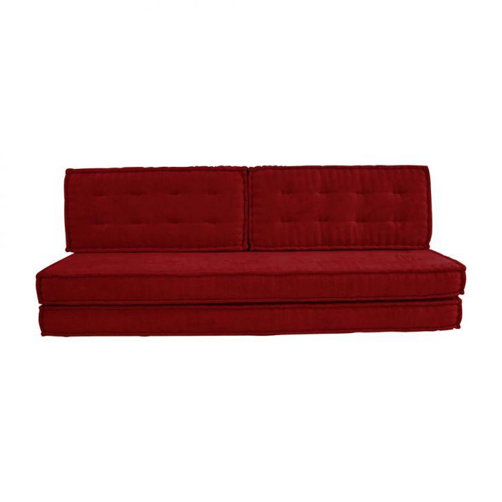 Sof cama futon casal paola suede vermelho for Futon cama 1 plaza