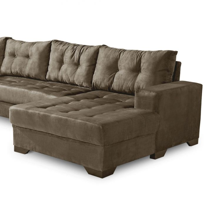 Sof de canto 5 lugares dijon com chaise suede amassado marrom for Sofa 5 lugares com chaise
