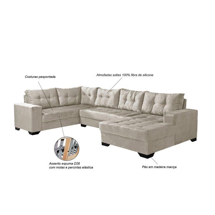 Sof de canto 5 lugares dijon com chaise suede areia for Sofa 5 lugares com chaise