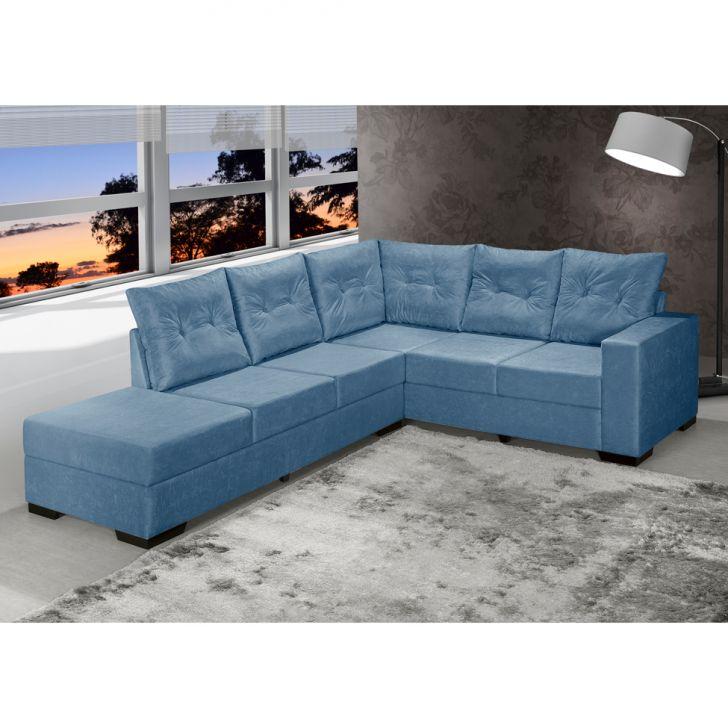 Sof de canto 5 lugares esquerdo cartagena suede azul for Sofa de canto 8 lugares