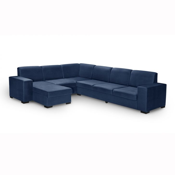 Sof de canto 6 lugares com chaise astro suede azul for Sofa 6 lugares de canto