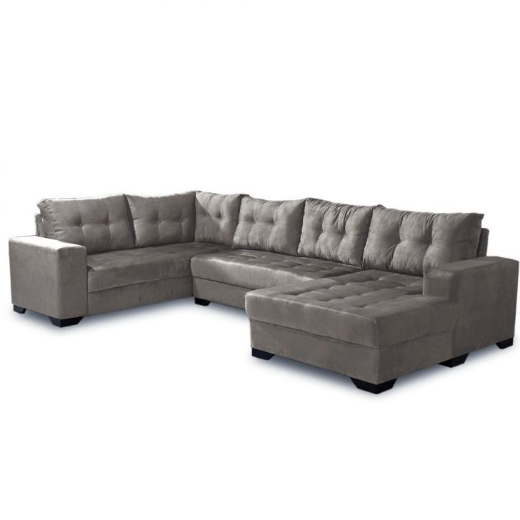 Sof de canto dijon 5 lugares com chaise suede cinza claro for Sofa 5 lugares canto