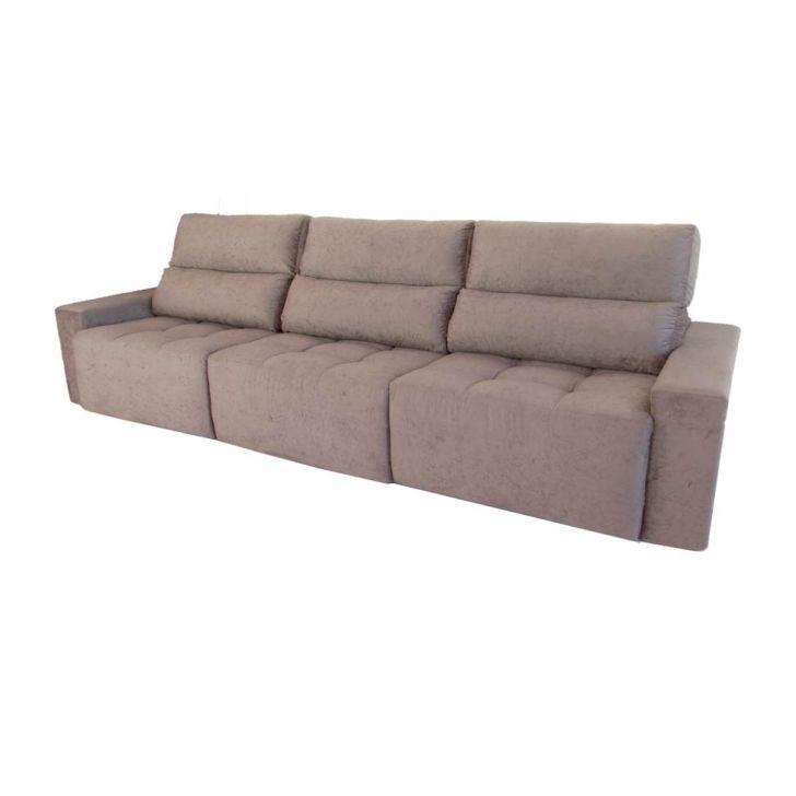 Sofa 6 lugares retr til e reclin vel arom suede amassado for Sofa retratil 6 lugares