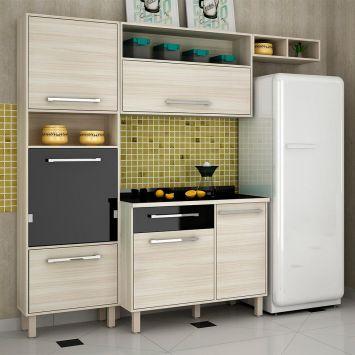 Cozinha Completa Maia 6 PT 1 GV Jacarta e Preto DESCONTO DE R$: 520,00 (38,52% OFF) - OFERTA MOBLY