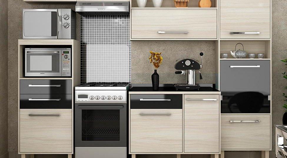 Cozinha Completa Maia 7 PT 3 GV Jacarta e Preto